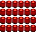 24 Pack LED Tea lights Candles - Flickering Flameless Tealight Candle - Battery Operated Electronic Fake Candles - Decoration for Wedding, Party, Dating and Festival Celebration (Red)