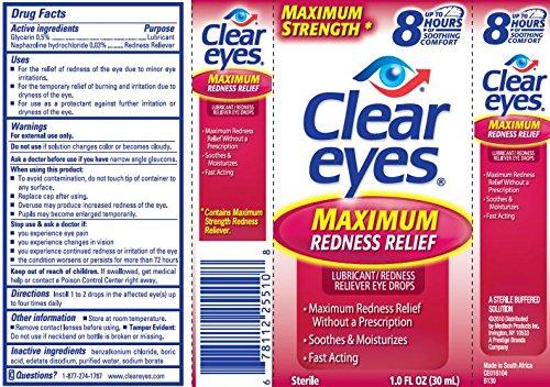 Yeux clairs Relief maximale Rougeur Drops Lubrifiant Rougeur Reliever yeux, 1,0 onces liquides (30 ml) (pack de 3)