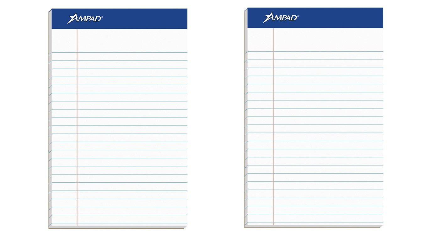 Ampad Jr. Notepad, College/Medium Ruled, 50 Sheets, White, 5'' x 8'', 12 per Pack (20-364) (2 X Pack of 12)