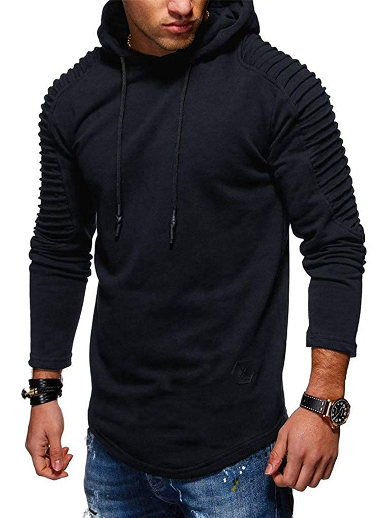Fenxxxl Men's Curved Hem Big and Tall Pullover Hoodie Fleece Hooded Sweatshirt for Boyfriend S-XL