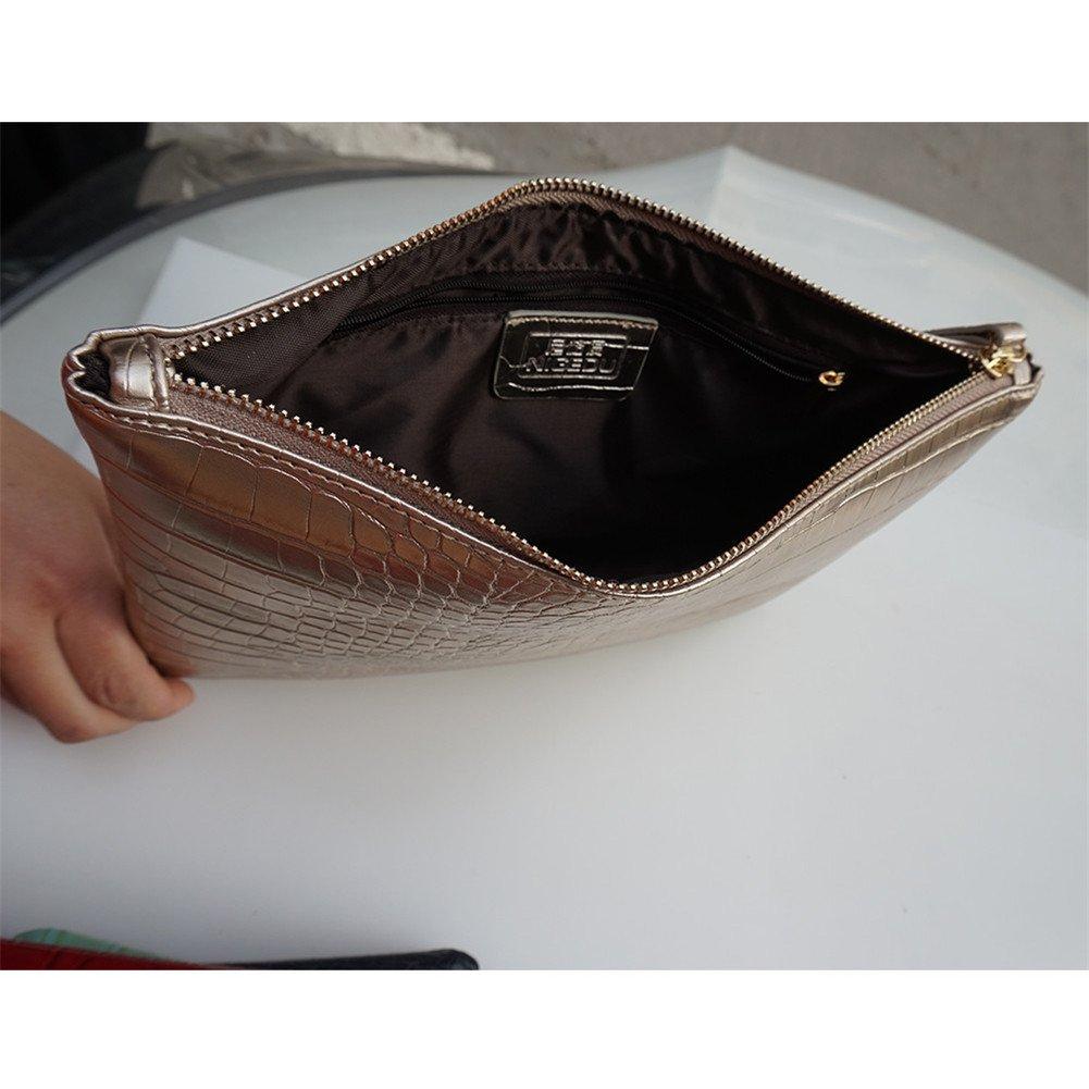 NIGEDU Women Clutches Crocodile Grain PU Leather Envelope Clutch Bag (Black) by NIGEDU (Image #4)