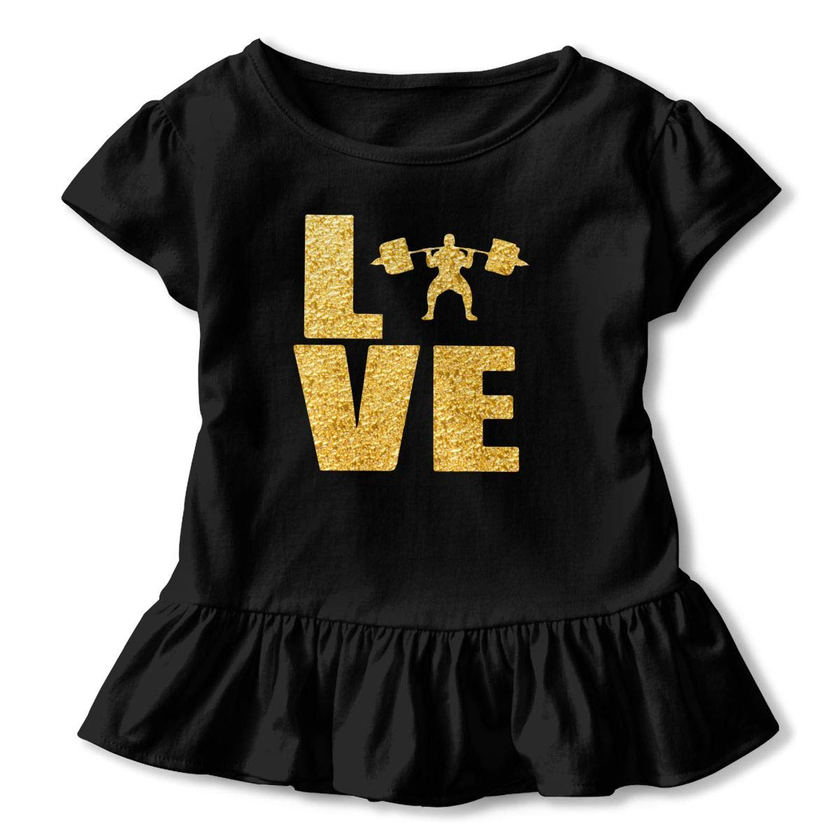 Love Weightlifting Gold Weightlifting Toddler Girls T Shirt Kids Cotton Short Sleeve Ruffle Tee