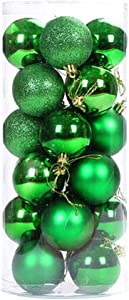 """ALIMITOPIA 24pcs Christmas Ball Baubles,1.6"""" Shatterproof Assorted Colors Mirror Surface Hang Balls Pendant for Xmas Tree Decoration (1.6""""(Lime Green))"""