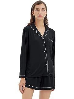 Button Down Sleepwear Soft Pj Sets Small~X-Large SIORO Women Pajamas Sets Satin Short Sleeve Silk Pajamas for Women