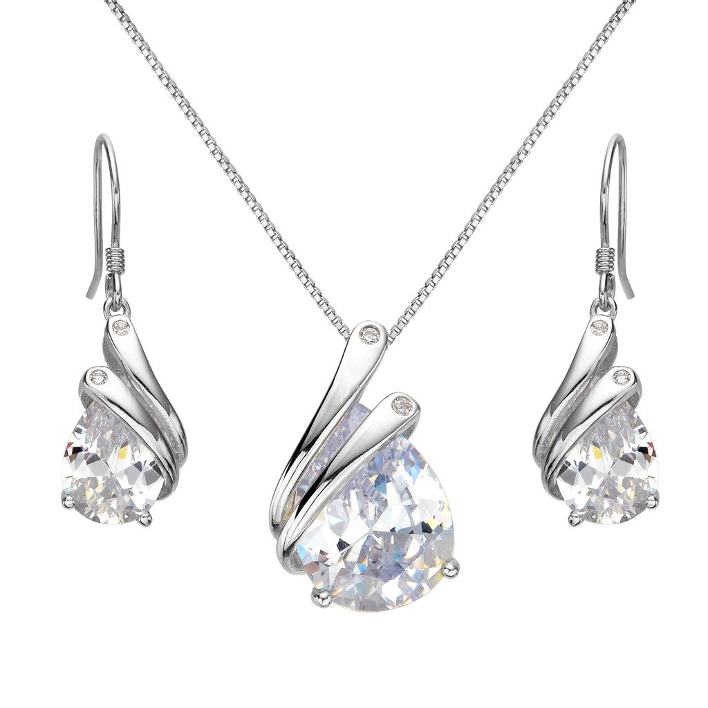 2213ae51f EleQueen 925 Sterling Silver Full Prong Cubic Zirconia Ribbon Teardrop  Bridal Necklace Hook Earrings Set Clear: Amazon.ca: Jewelry