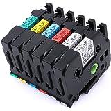 """6 Pcak TZ TZe 121 221 421 521 621 721 Compatible for Brother Model P-Touch Labeling Tape, Laminated 0.35"""" 26.2ft (9mm x 8m) PT H100 H110 D200 D210 D400AD D600 P700 1290 2430PC Label Maker etc."""