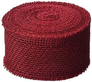 DARICE 2914-052 240gm Burlap Ribbon, 2.5-Inch by 10-Yard, Red