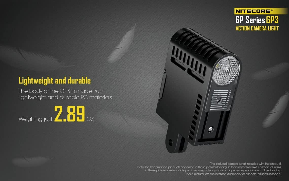 Nitecore GP3 360 Lumen CREE XP-G2 LED USB Rechargeable Camera Light for GoPro Sony Action Cameras with Battery Included /& LumenTac Adapters