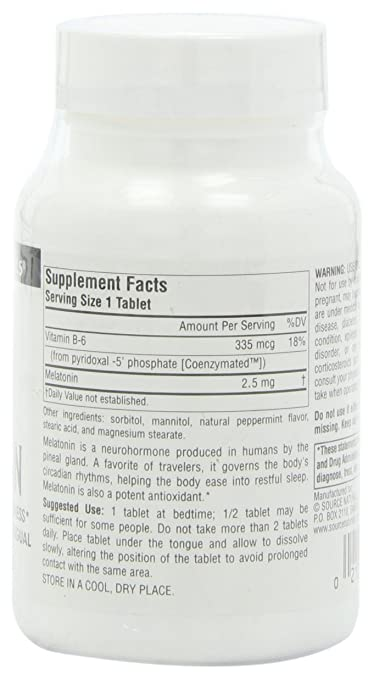 Amazon.com: Source Naturals Sleep Science Melatonin 2.5mg Peppermint Flavor Promotes Restful Sleep and Relaxation - Supports Natural Sleep/Wake Patterns and ...