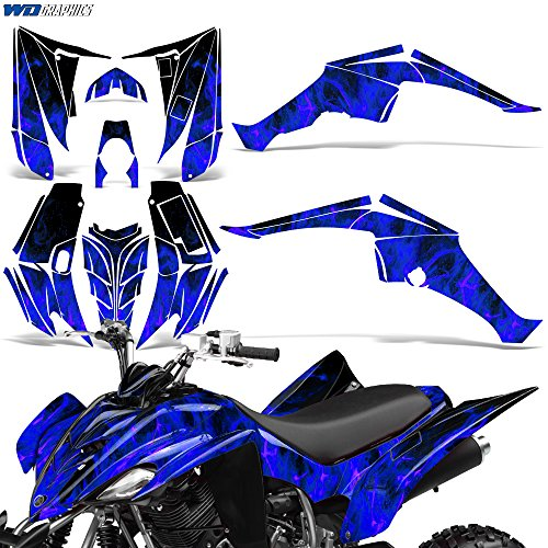 Flaming Blue Skull Sticker Decal Set Universal for Motorcycle Motorbike ATV Bike