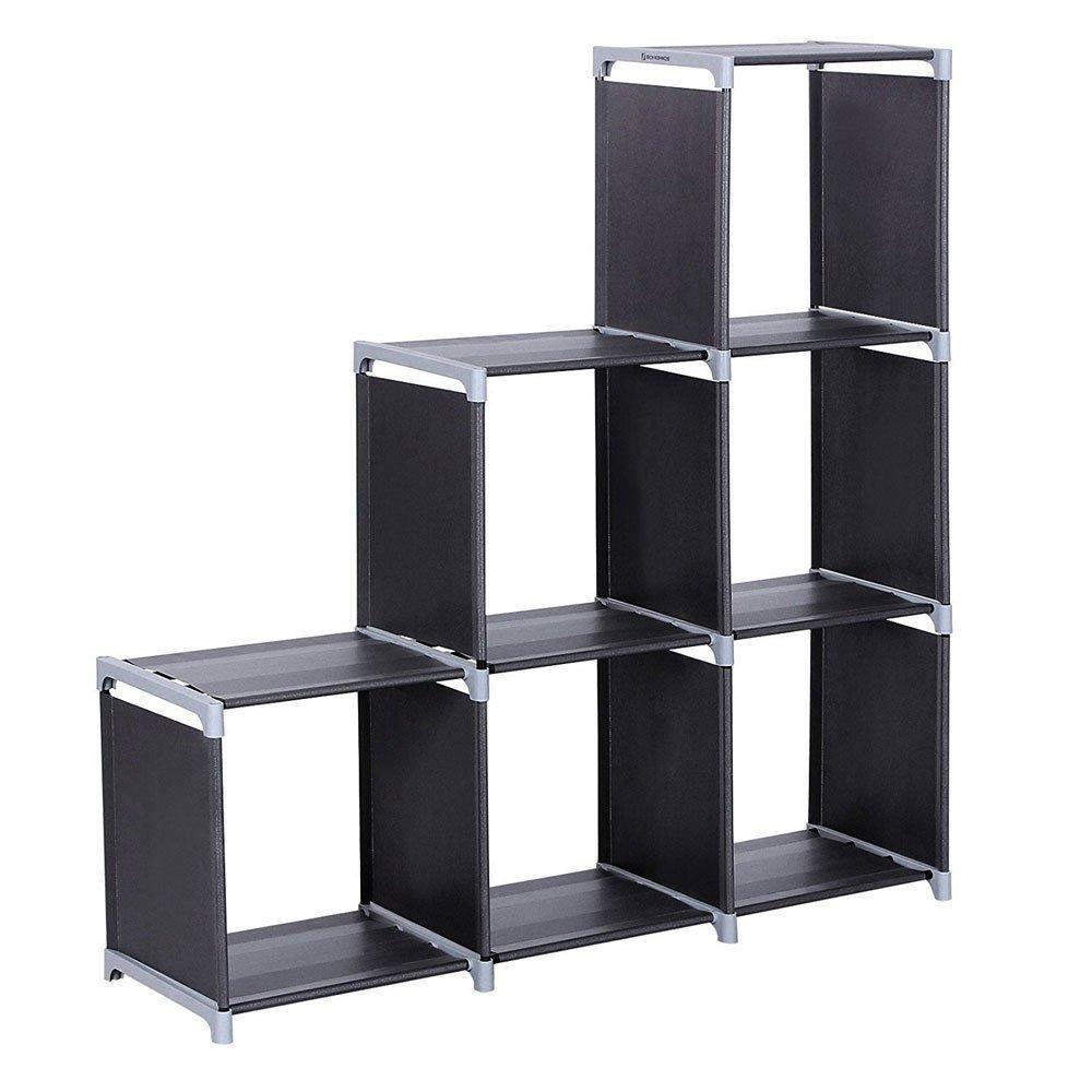 3 Tier Layer 6 Cubes Storage Bookcase Bookshelf Toys Storage Closet Black