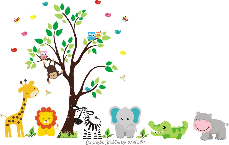 Amazon.com: Zoo Animal Wall Stickers - Zoo Animal Mural Nursery ...