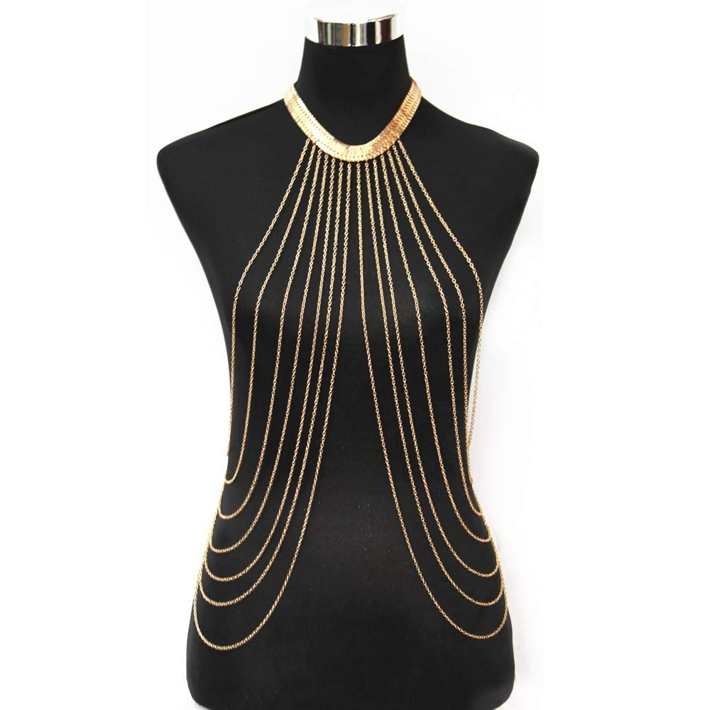 JoJo & Lin Gold Tone Body Chain Adjustable Harness with Fine Chain Multirow Necklace