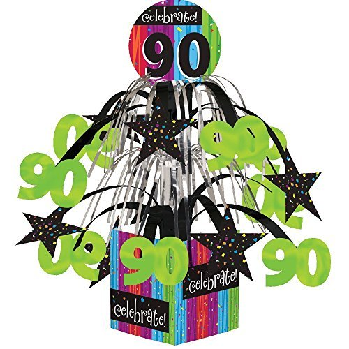 Creative Converting Party Decoration Metallic Foil Cascading Centerpiece, Milestone Celebrations 90th | (2-Pack)