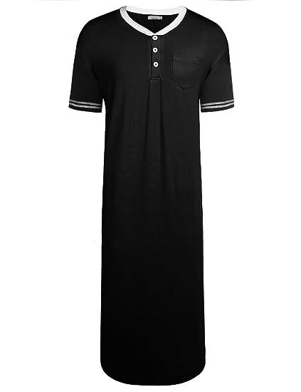 Goldenfox Mens Knit Cotton Sleep Shirt Short Sleeve Nightshirt Henly  Loungewear (Black 3f79a6c0a