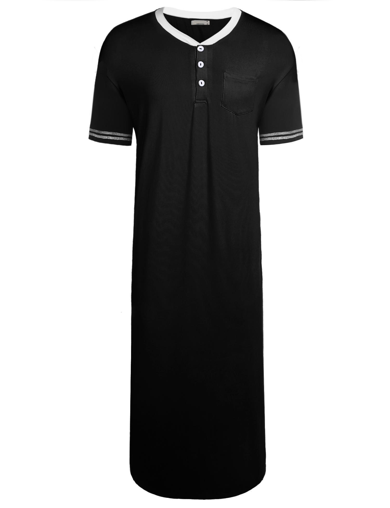 Goldenfox Loose Sleep Shirt For Men Long Big & Tall Sleepdress Henly Pajama Nightwear (Black, XL)