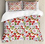 Watercolor Duvet Cover Set Queen Size by Ambesonne, Flourishing Nature Wildflowers Graceful Garden Carnation Lilac Summer Meadow, Decorative 3 Piece Bedding Set with 2 Pillow Shams, Multicolor