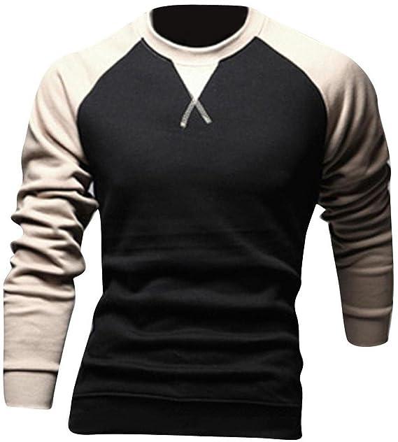 Jeansian Hombres Casual Slim Fit Manga Larga Camisetas Cuello Redondo tee Tops Dress D346 Black XS