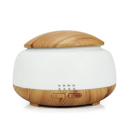 Rnalley Humidificador Máquina de aromaterapia Grano de Madera Sincronización Mudo Niebla Cantidad Inicio Colorido Luz de