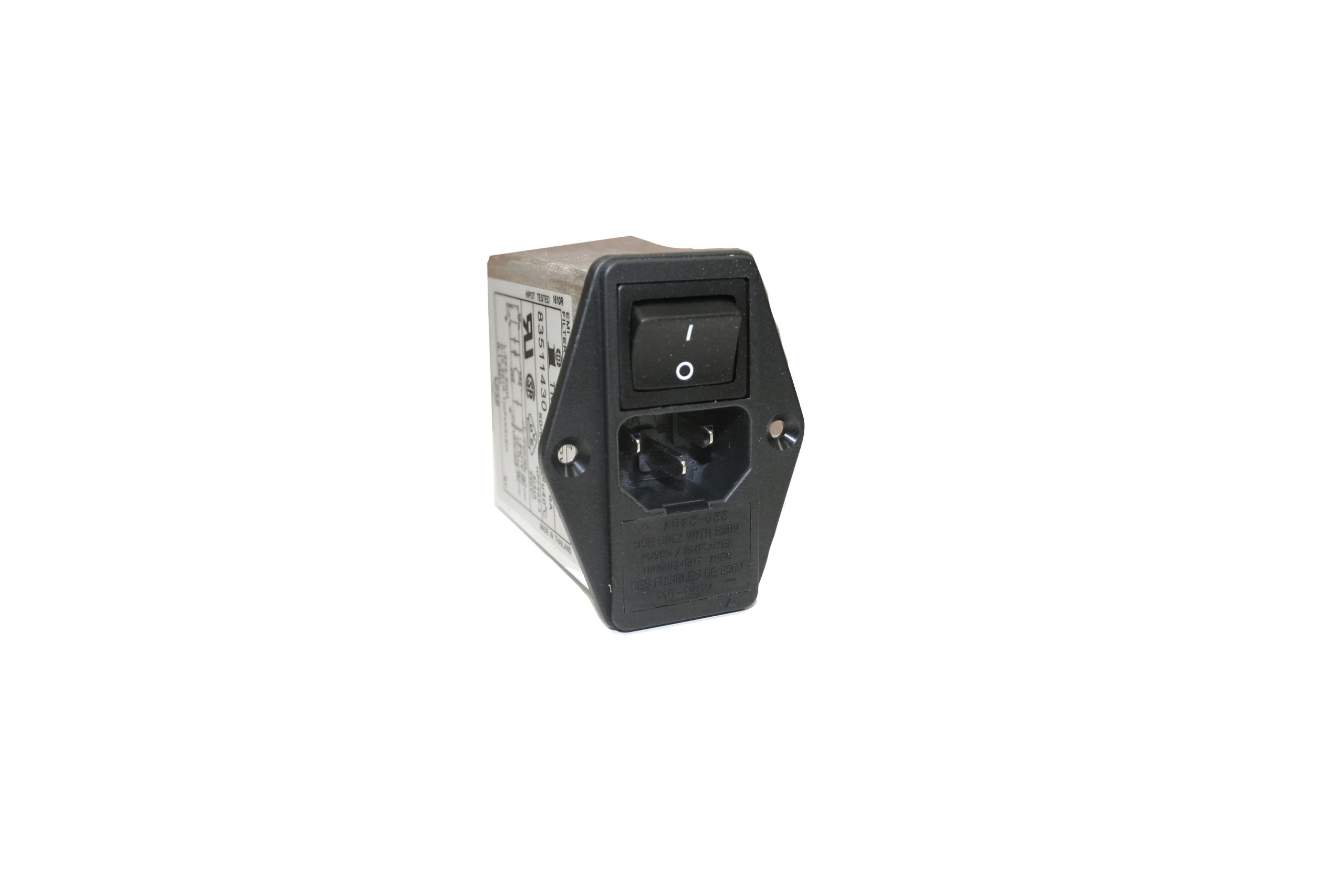 Interpower 83511430 Five Function Double Fused Medical Grade Module, C14 Inlet, Switch, Double Fused, Voltage Selector, Filter, 6A Current Rating, 250VAC Voltage Rating