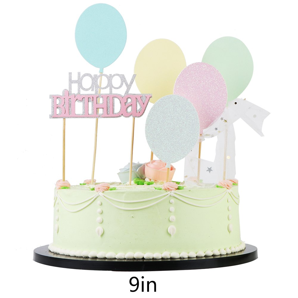Amazon Lveud Bh Multicolor Balloons Paper Card Cake Topper And