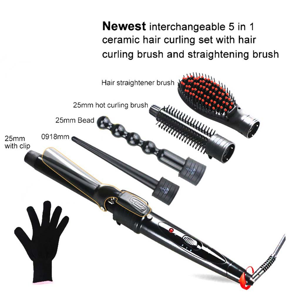 QJHP 5 in 1 Curling Wand Set Ceramic Cone Hair Curler Multifunction Temperature Control Self-Locking Function with 5 Interchangeable Barrels with Heat Resistant Glove by QJHP (Image #2)