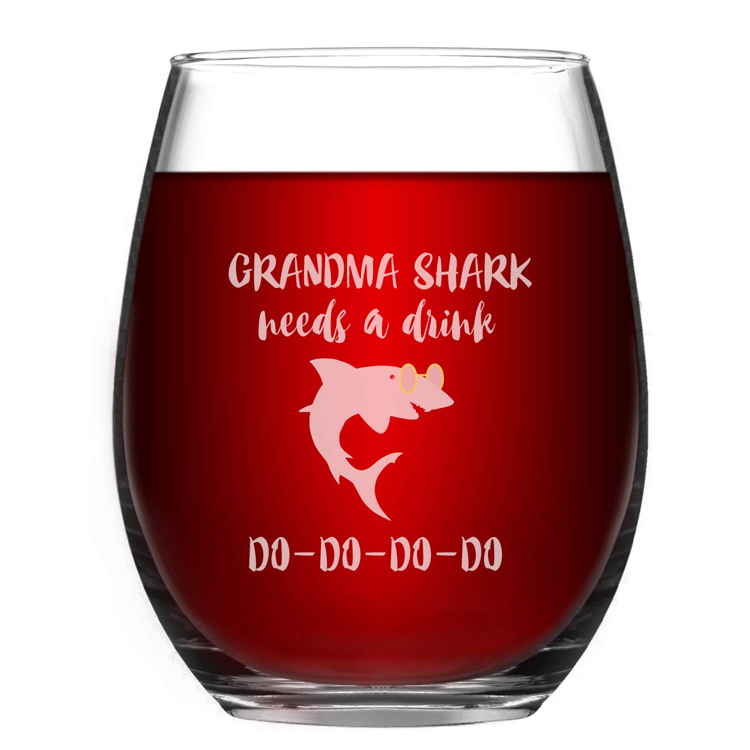 Grandma Wine Glass Grandma Shark Needs a Drink Do Do Novelty Wine Glass for Women with Sayings Funny Stemless Wine Glass Funny Shark Gifts & Cup Accessories for Shark Lovers  Grandma MIL Mom Mama Moth