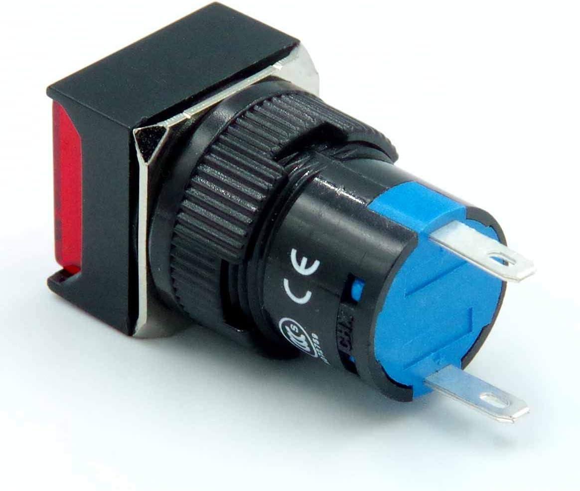 ETIAL 16mm 110V AC Square Cap LED Indicator Light Red 2 Pin 2 Pack