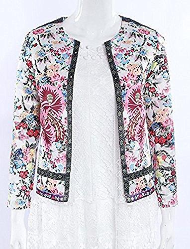 Corto Larga Tops y Primavera Chaqueta Jacket Bordado Moda Otoño Casual Floral Cárdigans Abrigos Mujeres Rojo Manga Blazer gxvUw0q