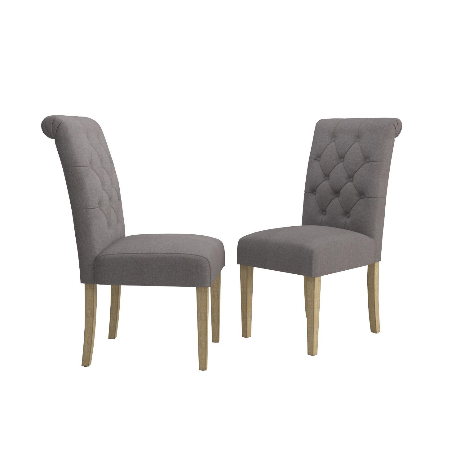 Roundhill Furniture Habit Grey Solid Wood Tufted Parsons Dining Chair (Set of 2), Gray by Roundhill Furniture (Image #9)