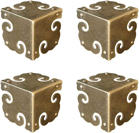 4X Chinese Furniture Corners Hardware Brass for Cabinet Trunk Jewelry Box Chest