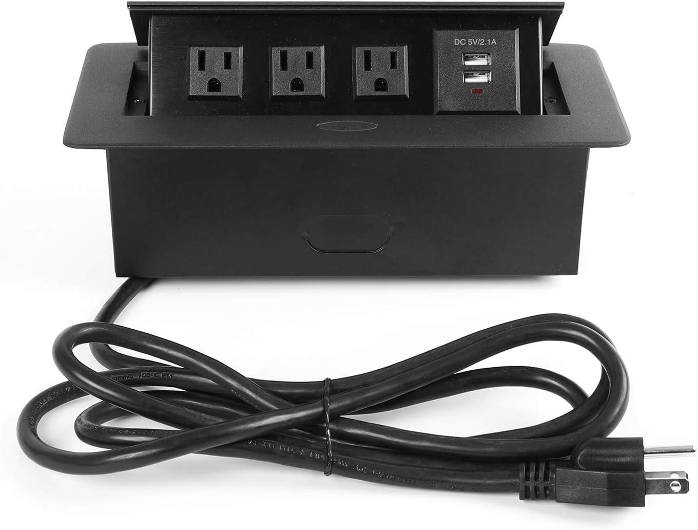 WEBANG Desktop Pop Up Socket with 3 Outlets & 2 USB Ports (Connection Box Desktop Pop Up Outlet, Black)