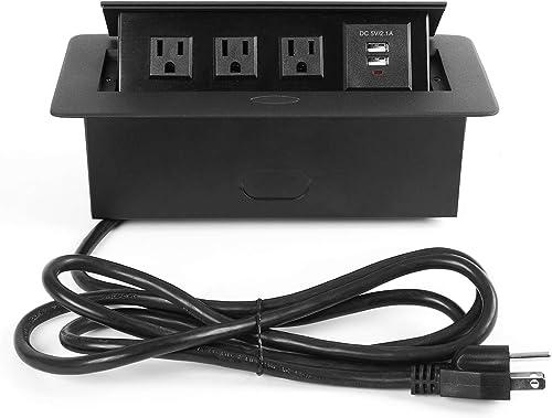 WEBANG Desktop Pop Up Socket with 3 Outlets 2 USB Ports Connection Box Desktop Pop Up Outlet Black