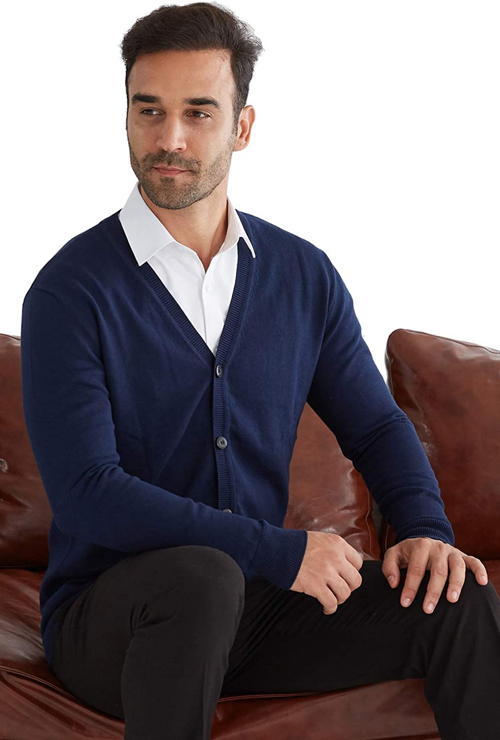 TALITARE Mens 100/% Cotton Knit Cardigans V-Neck Knitted Jumper Button Through Autumn//Winter Long Sleeve Pullover Sweater,6 Colors,XS-XXL
