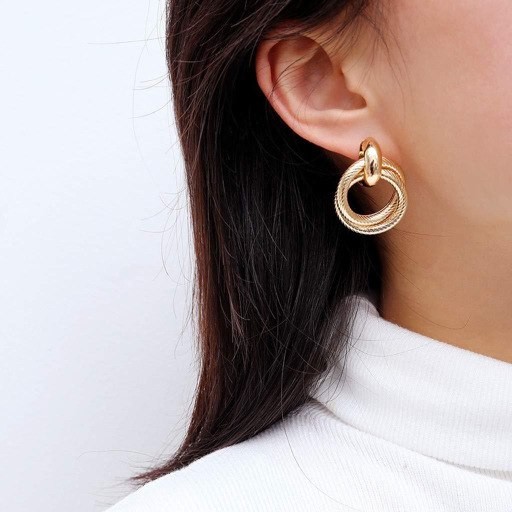Malltop Shawn Earrings for Women Girls Double twisted ringVintage Silver Post Small Minimalist Stud Earring Dangle