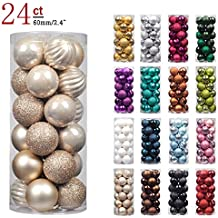 """KI Store 24ct Christmas Ball Ornaments Shatterproof Christmas Decorations Tree Balls Pastel for Holiday Wedding Party Decoration, Tree Ornaments Hooks included 2.36"""" (60mm Champagne)"""