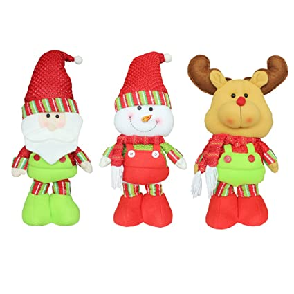 3pcs christmas decoration stretchable christmas dolls home indoor outdoor christmas decorations santa claussnowman - Amazon Outdoor Christmas Decorations