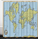 Ambesonne High School Classroom Decor Political World Map With Capitals And Rivers Polyester Fabric Bathroom