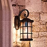 Luxury Craftsman Outdoor Wall Light, Medium Size: 17.75''H x 10''W, with Tudor Style Elements, Wrought Iron Design, Oil Rubbed Parisian Bronze Finish and Seeded Glass, UQL1045 by Urban Ambiance