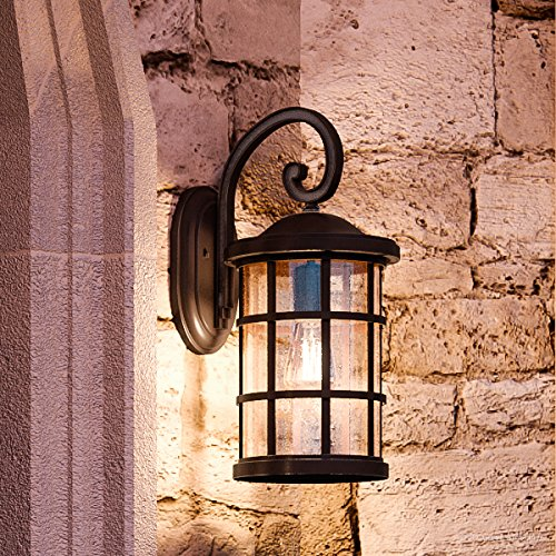 Luxury Craftsman Outdoor Wall Light, Medium Size: 17.75''H x 10''W, with Tudor Style Elements, Wrought Iron Design, Oil Rubbed Parisian Bronze Finish and Seeded Glass, UQL1045 by Urban Ambiance by Urban Ambiance