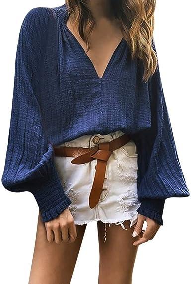 Bringbring - Camisetas de mujer de manga larga con cuello en V profundo y manga larga para otoño Azul azul marino L: Amazon.es: Ropa y accesorios