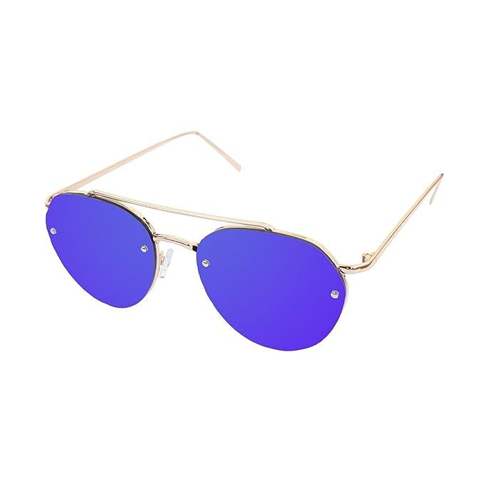 LooKLooK® Gafas de Sol de Moda Estilo Aviador Unisex - Diseño Elegante Montura  Metálica y 964da8cb8252