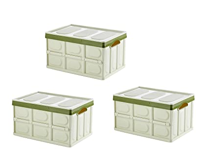 Iyan 3 Pack Collapsible Plastic Storage Bins Unit Boxes Containers Lid  Clothes, Books,