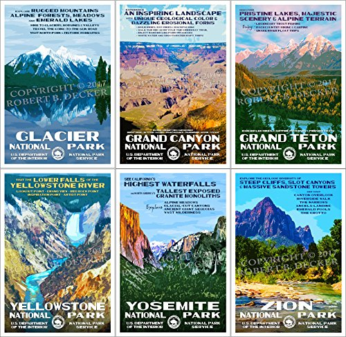 National Park Posters - 6 Pack - Original Artwork