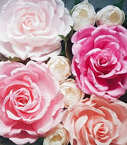 Giant paper flower wall display pink wedding for Decorate with flowers amazon