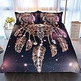 Purple and Gold Duvet Set Sleepwish Dreamcatcher Duvet Cover 3 Pcs Purple Black Bedding Set Glitter Bedding for Boho Boys Girls (King)