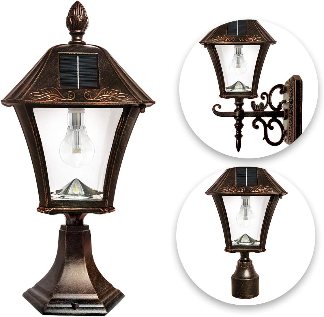 Baytown Bulb Solar Lamp, 3 Fitter Mounts for Wall Post Pier, Brushed Bronze GS-106B-FPW