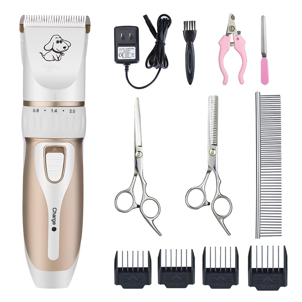 Otstar Dog Clippers,Low Noise Rechargeable Cordless Pet Dog and Cat Grooming Clippers Kit Set Tools with 2 Batteries,P3(White and Gold)