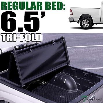 Amazon Com Topline Autopart Tri Fold Soft Vinyl Truck Bed Tonneau Cover For 19 20 Up Dodge Ram 1500 New Body Style 6 4 Feet 76 8 Bed Automotive