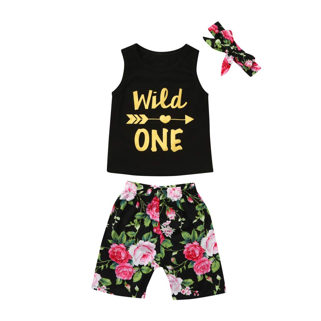 Floral Print Shorts+Headband Outfit Set Baby Girl Clothes Mini Boss Sleeveless Black Tops Dsood Girl Floral Sets